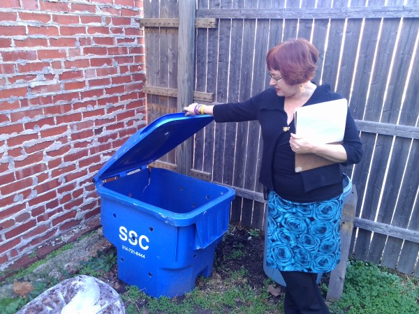 Co-owner of Urban Eats Café, Caya Aufiero, makes sure her restaurant's waste ends up in the right bin